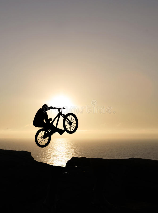 Download Sunset biker jumping stock image. Image of bicycle, silhouette - 20102859