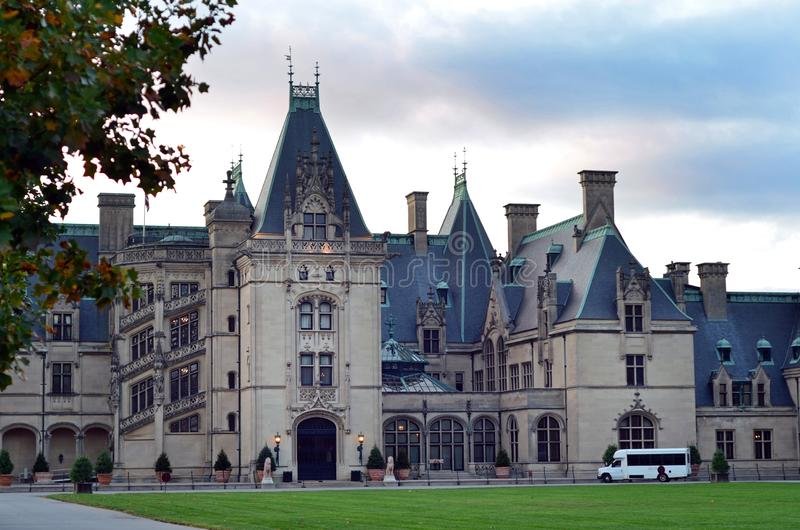 Sunset at Biltmore Estate Mansion, Asheville NC. Biltmore Estate is a large private estate and tourist attraction in Asheville, North Carolina. Built by George royalty free stock photos