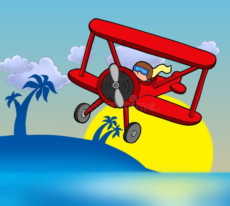 Sunset with biplane. Color illustration royalty free illustration