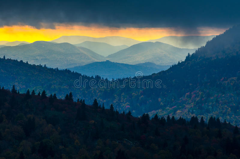 Sunset, Black Balsam knob, Blue Ridge Parkway. A passing autumn storm breaks over the Blue Ridge Mountains just in time to catch the warm light of the setting royalty free stock photos