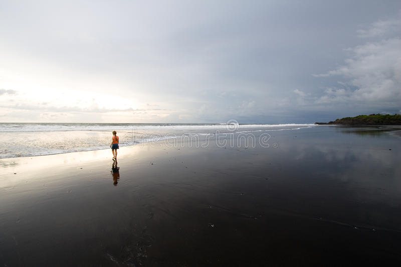 Download Sunset On The Black Sand Beach Stock Image - Image of nobody, oceania: 12933321