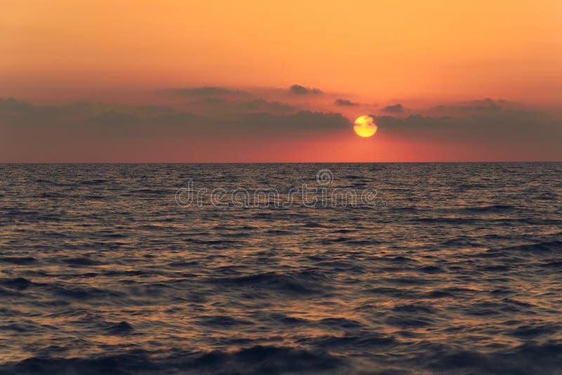 Sunset on the Black sea coast, Sochi city. stock photo