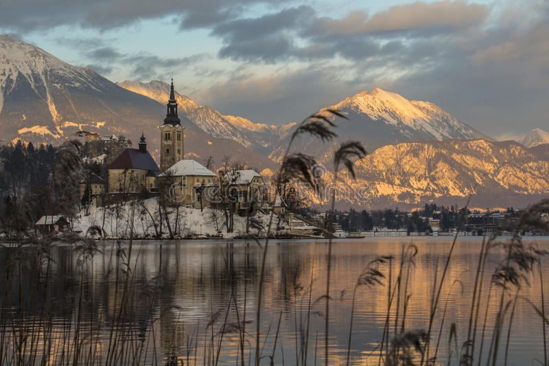 Sunset in the Bled Lake stock images