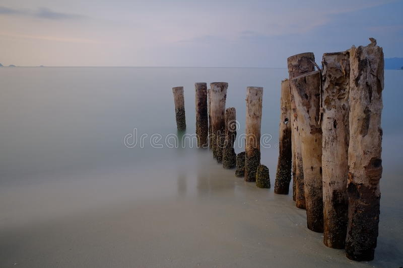 Sunset blue hour old jetty stock image