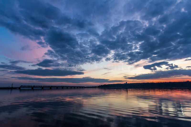 Sunset during blue hour over Volga River and Bridge, located in Ulyanovsk Russia stock image