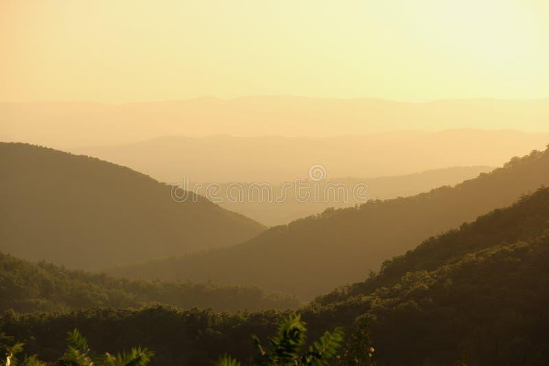 Sunset. On the Blue Ridge Mountains in North Carolina, USA stock photos