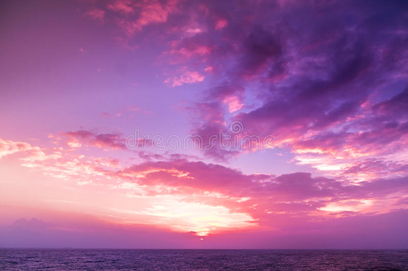 Sunset. blue sky and clouds. stock images