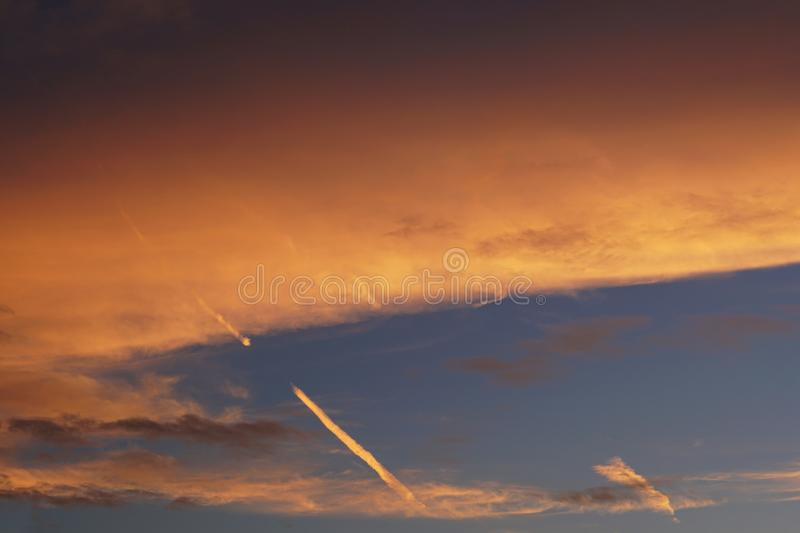 Sunset. blue sky and clouds. Beauty natural background stock image