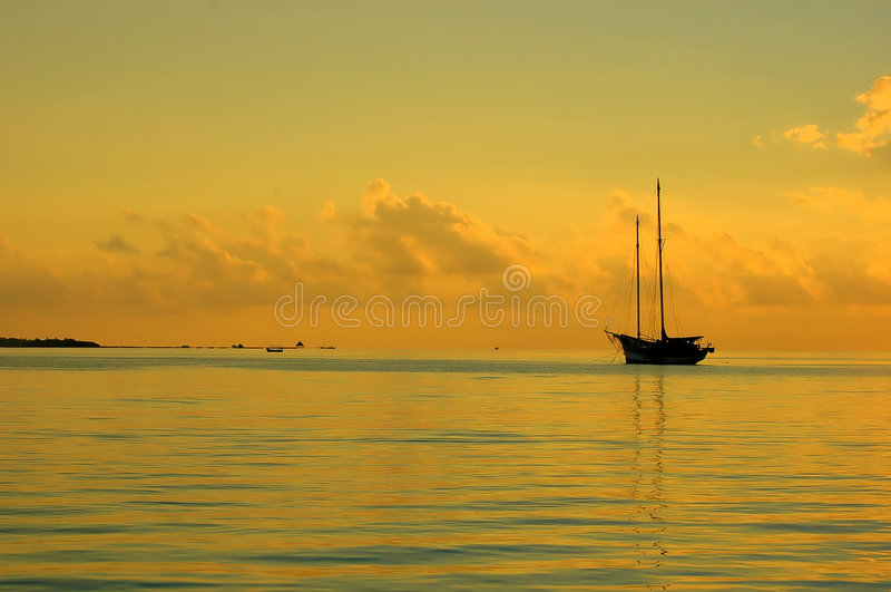 Download Sunset Boat stock image. Image of peace, island, orange - 1509959
