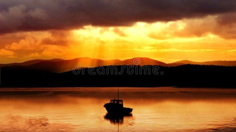 Download Sunset Boat stock photo. Image of rays, church, peace - 4657002