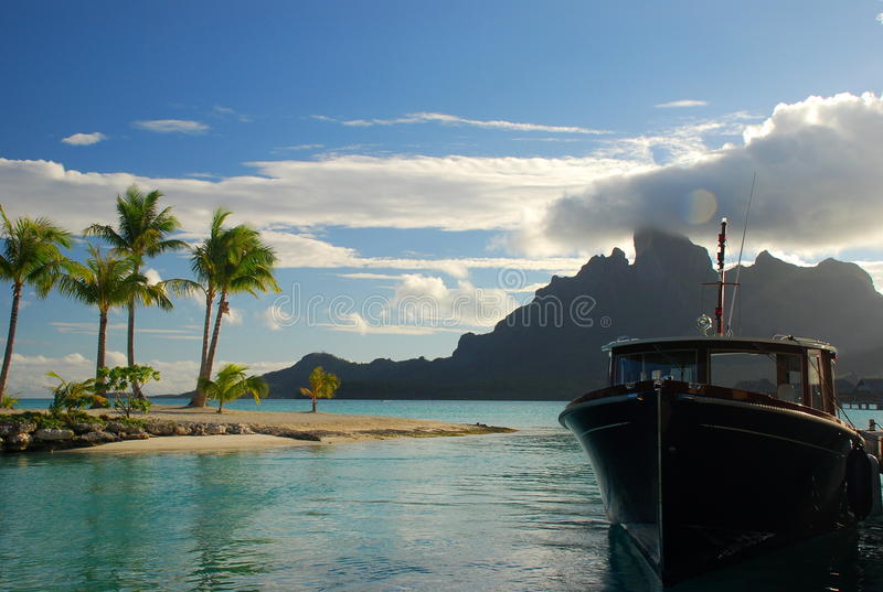 Sunset boat cruise. Bora Bora, French Polynesia. Moorea is a high island in French Polynesia, one of the Windward Islands, part of the Society Islands, 17 royalty free stock photography