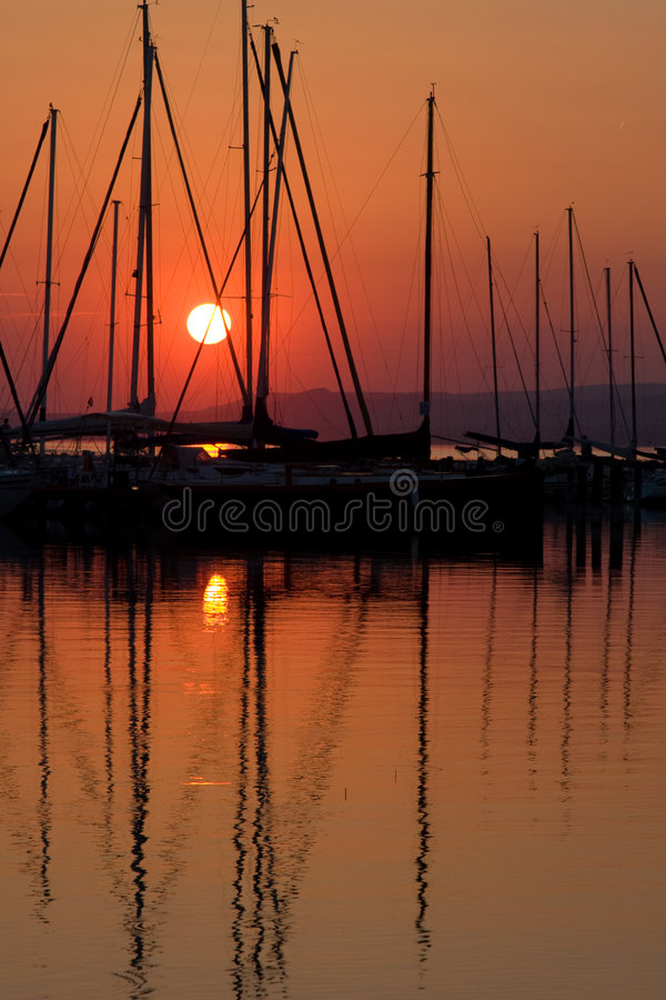 Sunset and boat with people 6. royalty free stock image