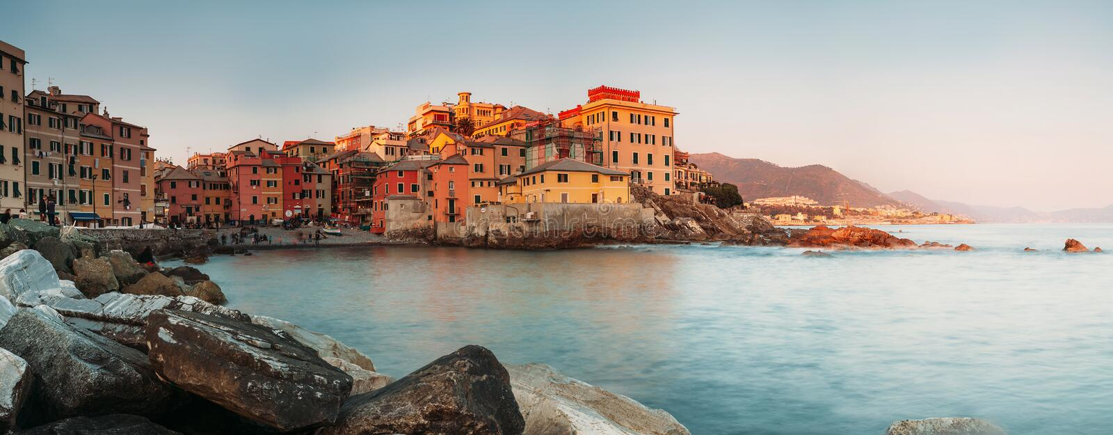 Sunset in Boccadasse bay, Italy, Genoa panorame image stock photography