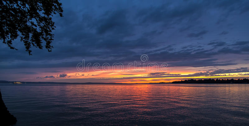 Sunset at Bodensee royalty free stock photo