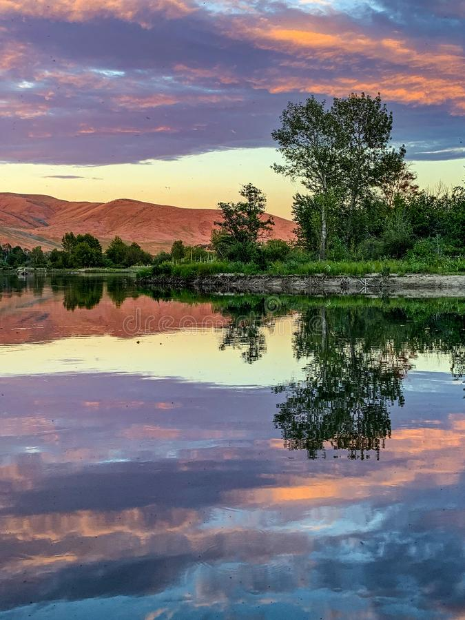 Sunset on the Boise River, Idaho. Fly fishing for rainbow trout in Boise, Idaho royalty free stock images