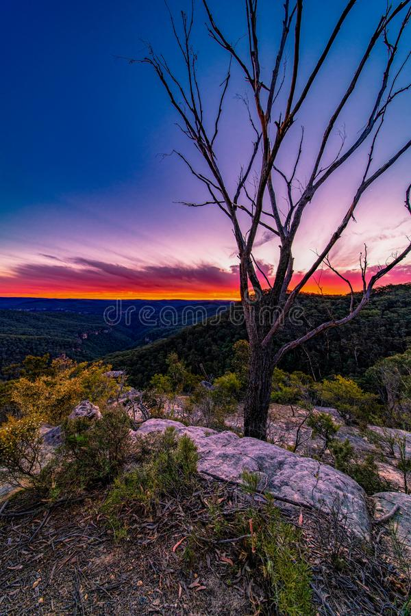 Sunset at Bonnie View Lookout, Bundanoon, NSW, Australia. Photograph of a sunset at Bonnie View Lookout located in Morton national park, Bundanoon, NSW stock photo