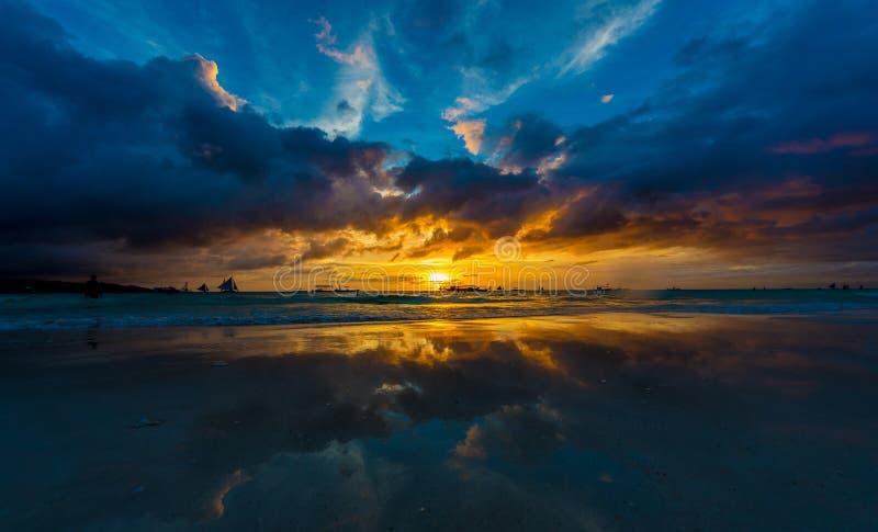 Sunset Boracay beach stock photography