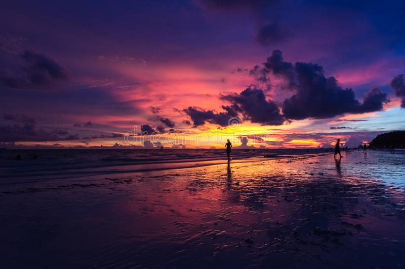 Sunset in the Boracay royalty free stock photography