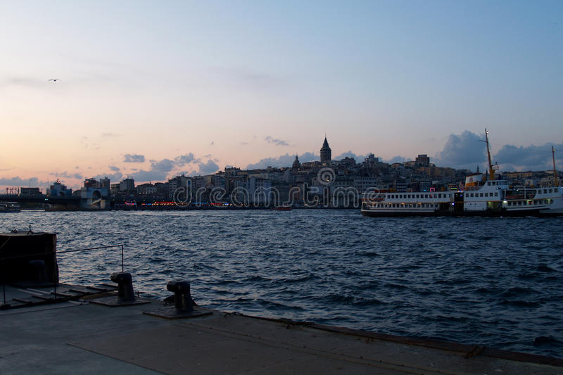 Sunset in the Bosphorus royalty free stock image