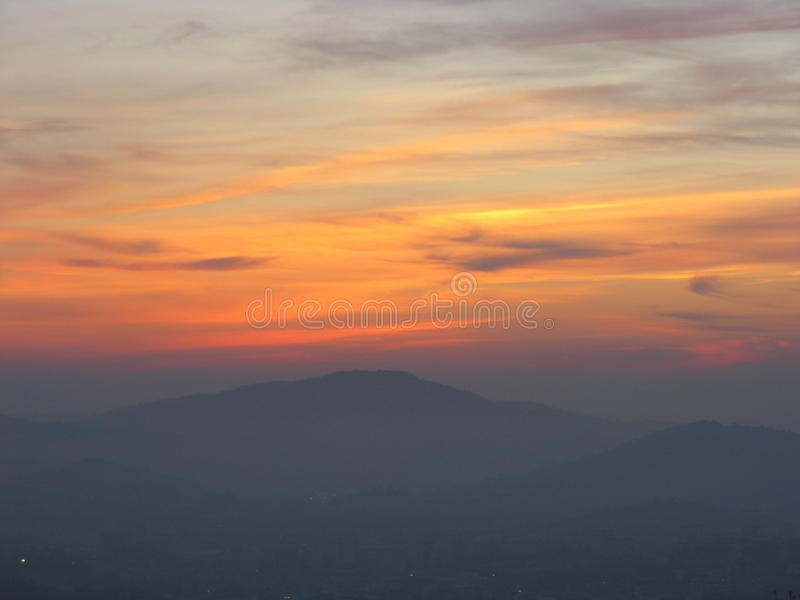 Sunset in Braga. The sunset in Braga seen from Bom Jesus do Monte in October, Portugal stock photography
