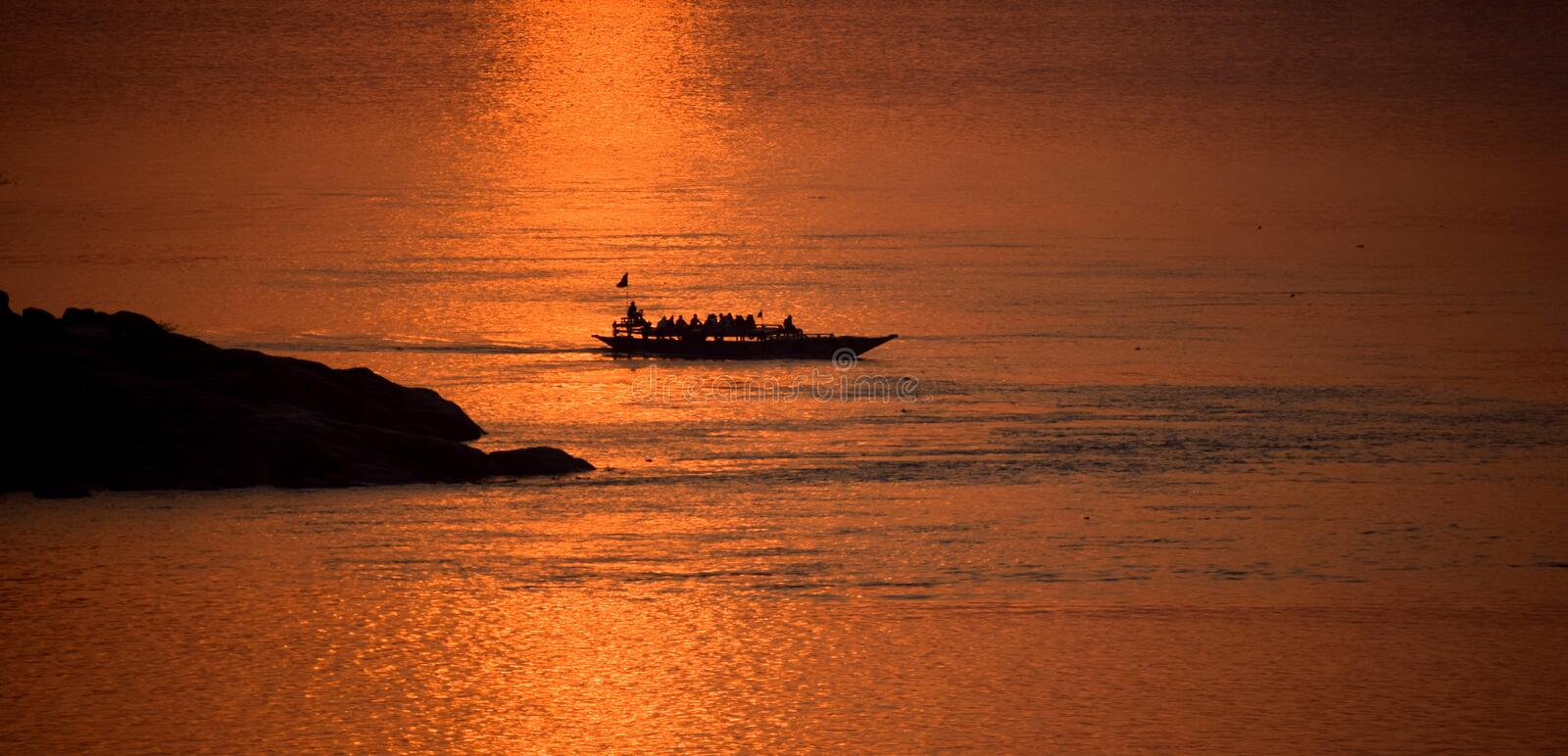 Sunset in Brahmaputra River stock images