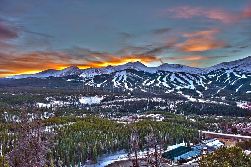 Sunset in Breckenridge HDR royalty free stock photography