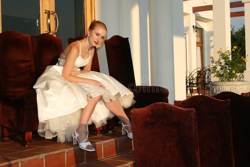 Sunset bride royalty free stock photo