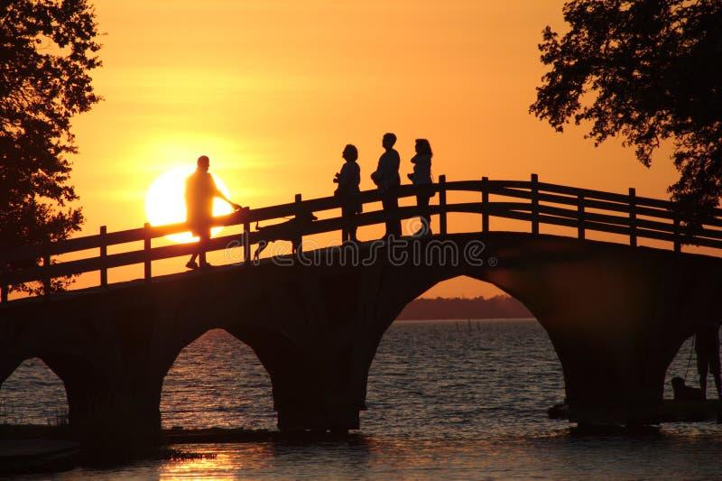 Sunset, Bridge, Sky, Reflection stock images