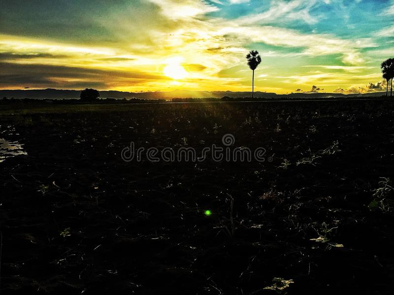 Sunset bright royalty free stock photo