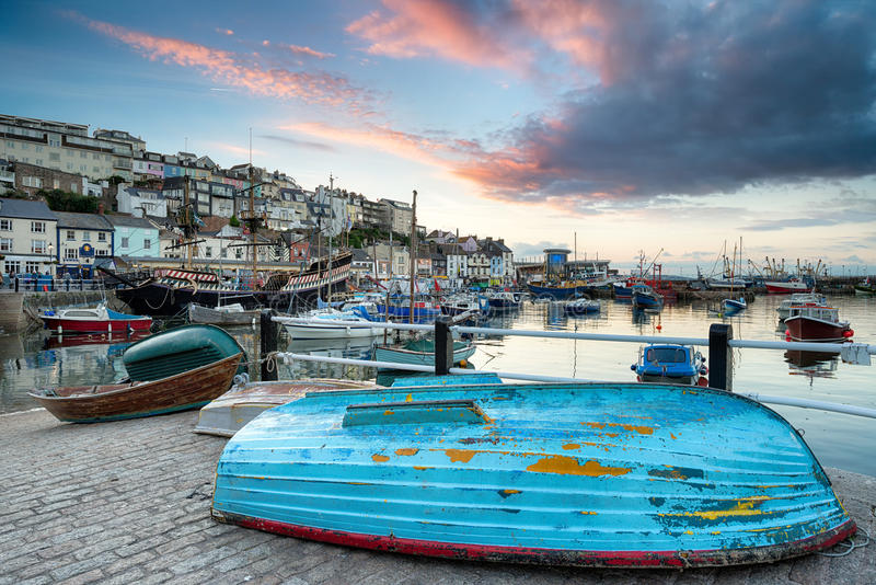Sunset at Brixham. Boats in the harbour at Brixham on the south coast of Devon royalty free stock images