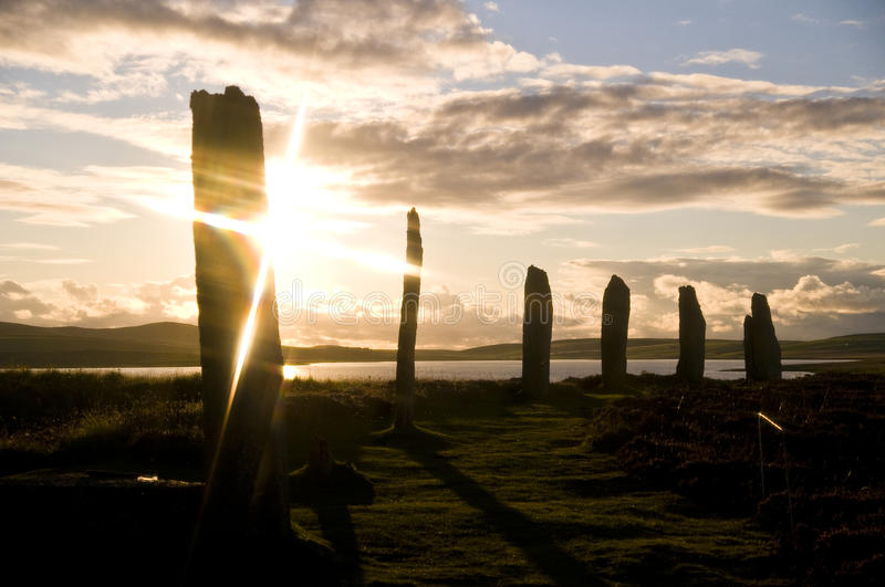 Sunset at Brodgar. Sunset at the Neolithic Stone Circle of Brodgar royalty free stock photos