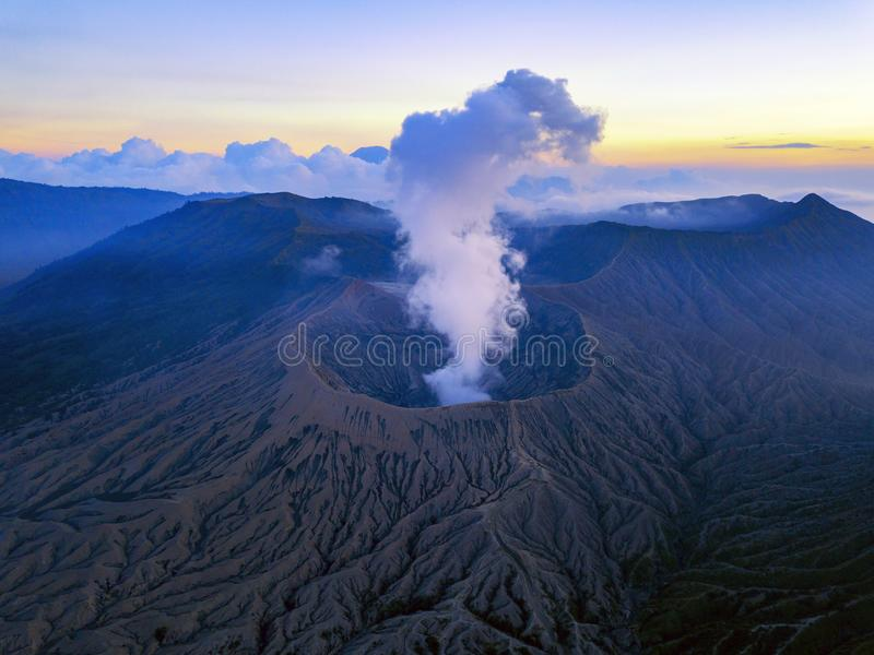 Sunset at Bromo Tengger Semeru National Park. In East Java, Indonesia taken with a drone stock photography
