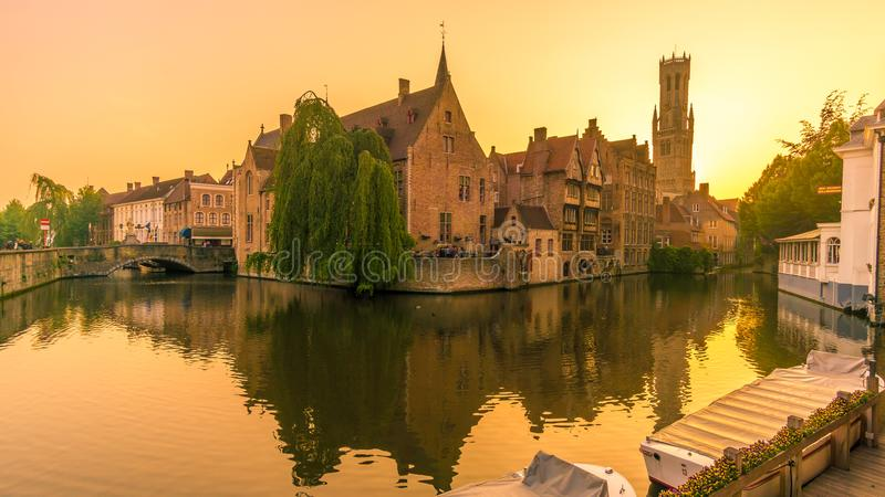 Sunset in Bruges near Rozenhoedkaai canal - Belgium royalty free stock image