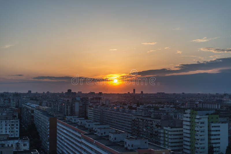 Download Sunset in Bucharest stock image. Image of height, bucuresti - 25820471