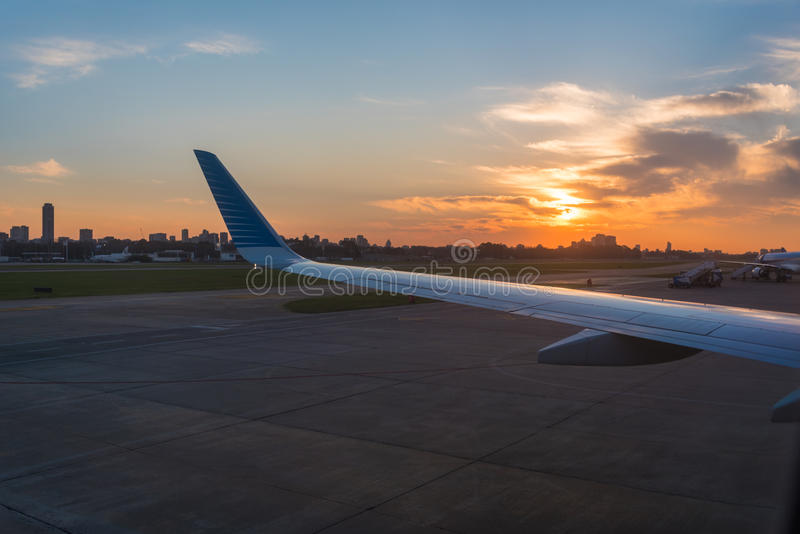 Sunset on Buenos Aires in Argentina. Sunset on Buenos Aires Airport in Argentina stock images