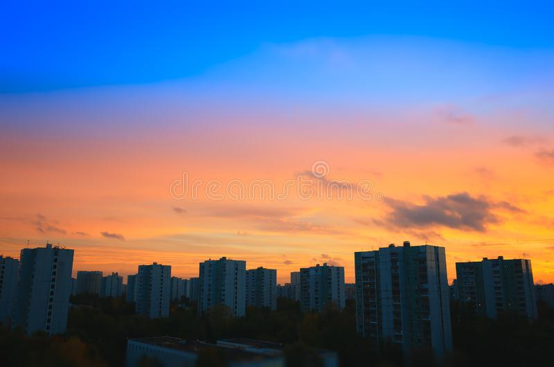 Sunset buildings skyline background stock images