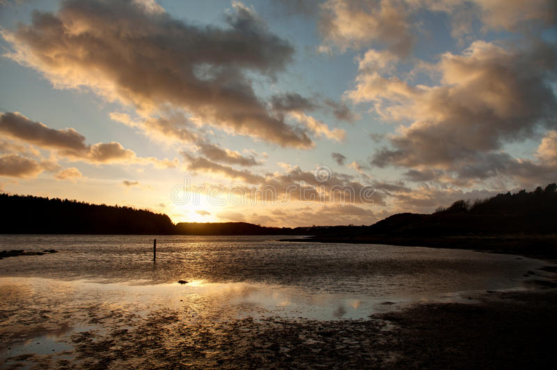 Sunset On The Cae Glass Nature Reserve  Beach Royalty Free Stock Image