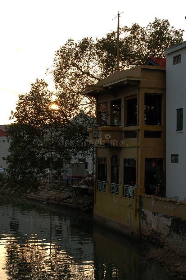 Sunset cafe stock photo