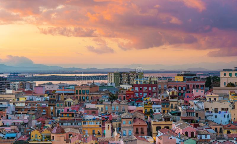 Sunset on Cagliari, aerial panorama of old city center. With old colored houses in Sardinia`s capital, Italy royalty free stock photos