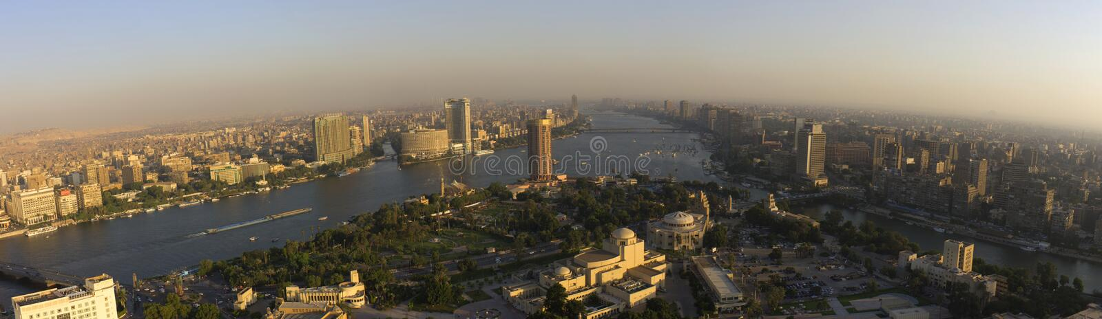 Sunset in Cairo. Cairo panorama during sunset taken from the Cairo tower royalty free stock photography