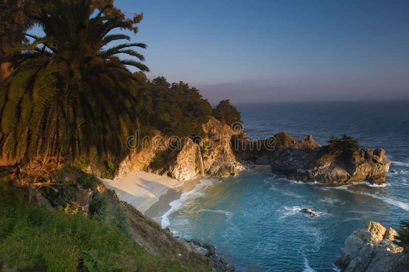 Sunset at the California beach stock photography
