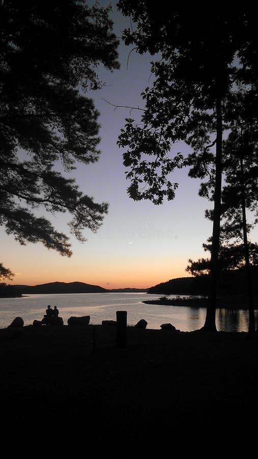 Sunset campground stock photos