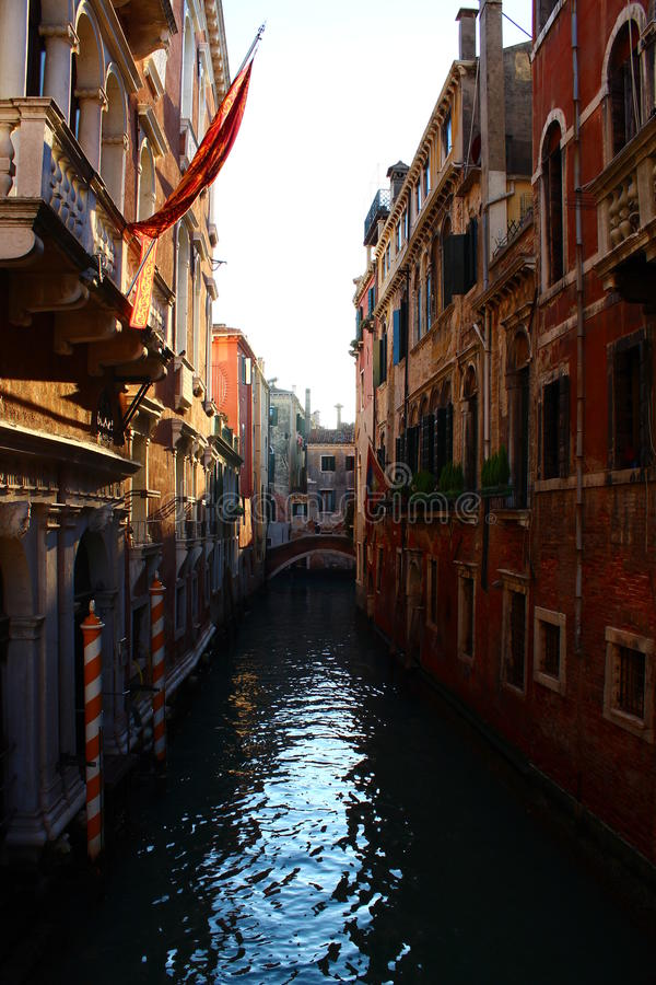 Sunset through canals of Venice, Italy royalty free stock photography