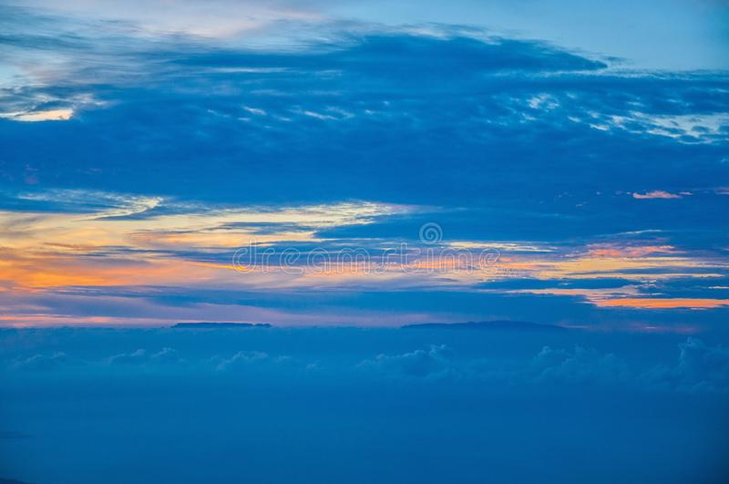 Sunset with canary islands, view from Teide volcano, Tenerife, Canary Islands royalty free stock images