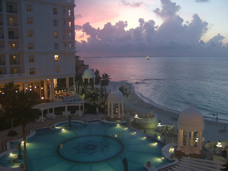 Sunset in Cancun royalty free stock photography