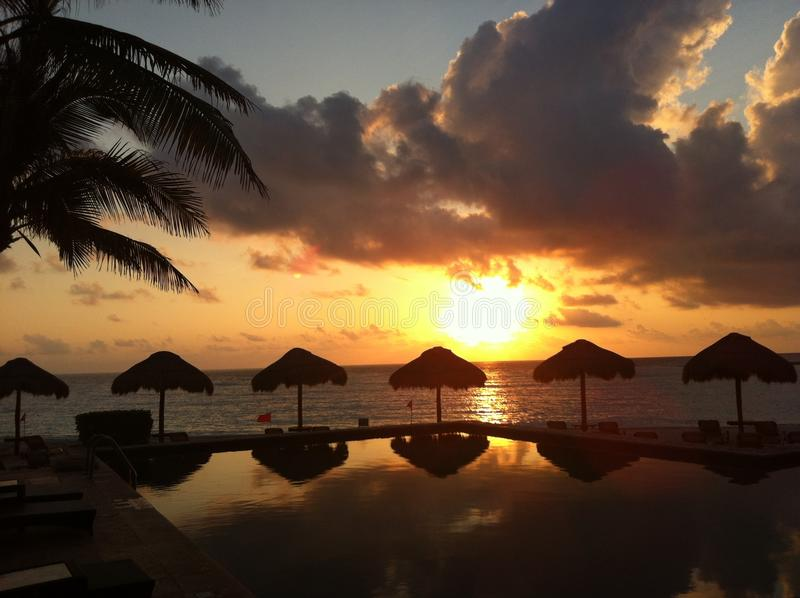 Sunset in Cancun, Mexico royalty free stock images