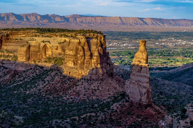 Sunset through the Canyon Gorge on the monuments in Grand Junction, Colorado stock images