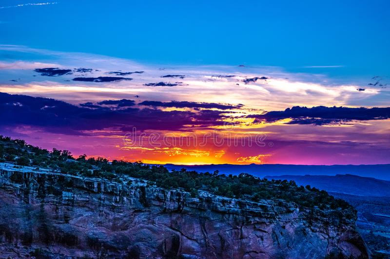 Sunset through the Canyon Gorge on the monuments in Grand Junction, Colorado royalty free stock image
