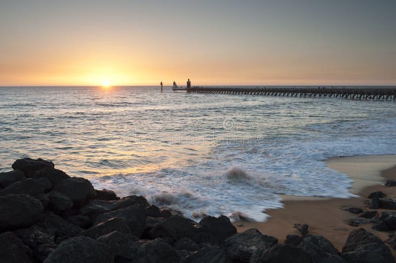Sunset at Capbreton beach stock photography