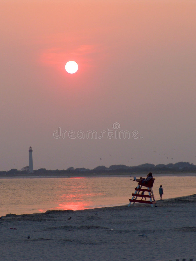 Sunset at Cape May stock images
